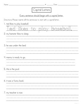 Capitals at the Start of Sentences Worksheet