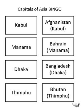 Capitals of Asia BINGO!