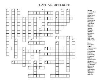 Capitals of Europe Crossword Puzzle