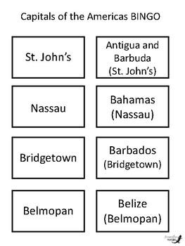 Capitals of the Americas BINGO!