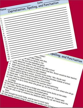 Capitalization, Punctuation, and Spelling Task Cards