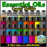 Capped Essential Oils Glass Bottles Clip Art for Personal
