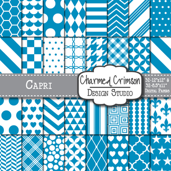 Capri Blue Geometric Basic Digital Paper 1131