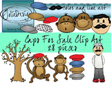 Caps for Sale Clipart - Color and Line Art 28 pc set