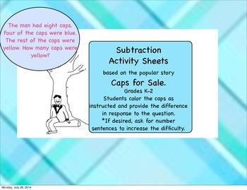 Caps for Sale Subtraction Sheets