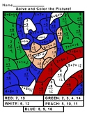 Captain America Math Superhero Color By Number (Addition,