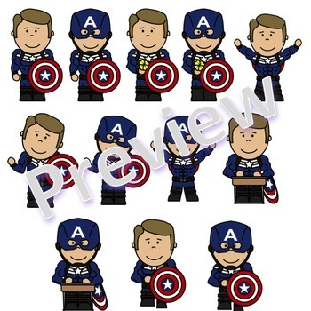 Captain America Style Superhero Clip Art