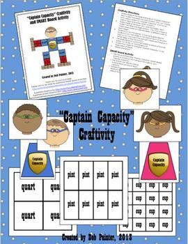 """Captain Capacity"" (Gallon Man, Measurement) Craftivity an"