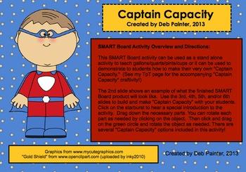 """Captain Capacity"" (Gallon Man, Measurement) SMART Board Activity"