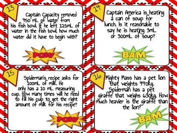 Captain Capacity and Mighty Mass Measurement Task Cards