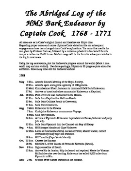 Captain Cook,  1st Voyage of Discovery, the log