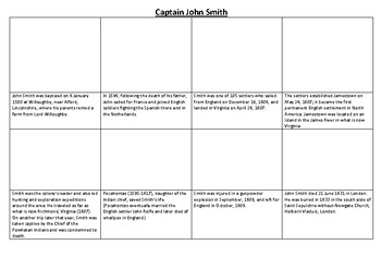 Captain John Smith Comic Strip and Storyboard