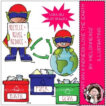 Captain Kindness clip art - Love the Earth - Mini - by Melonheadz