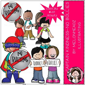 Captain Kindness clip art - No Bullies - Mini - by Melonheadz