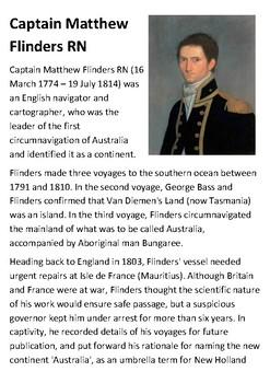 Captain Matthew Flinders RN Handout