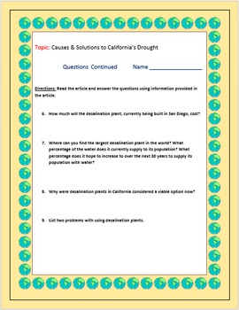 Current Events Science: Causes & Solutions to California's Drought