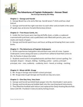 Captain Underpants #1 - Question & Answer Sheet