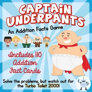 Captain Underpants Addition Facts Game!  110 Cards - Numbers 1-10