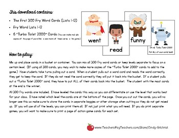 Captain Underpants Fry Words Game! Contains the First 300 FRY Words