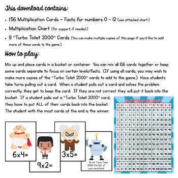 Captain Underpants Multiplication Facts Game!  156 Cards - Facts 0-12