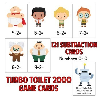 Captain Underpants Subtraction Facts Game!  121 Cards - Facts 0-10