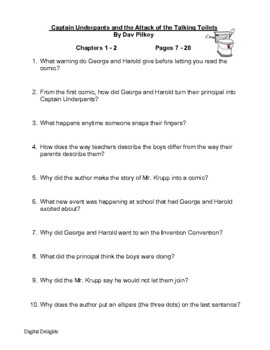 Captain Underpants and the Attack of the Talking Toilets Comprehension Questions