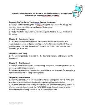 Captain Underpants & the Attack of Talking Toilets - Question & Answer Sheets