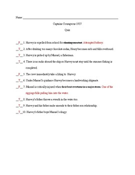 Captains Courageous 1937 Movie Quiz and Key
