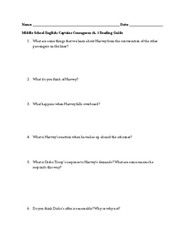Captains Courageous Novel Study Guide