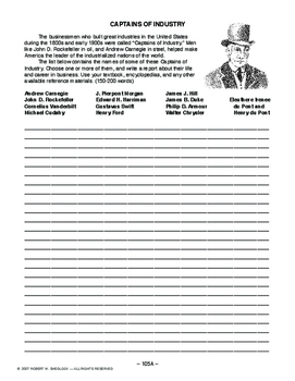 Captains of Industry, AMERICAN HIST. LESSON 105 of 150, Research/Writing Assign.