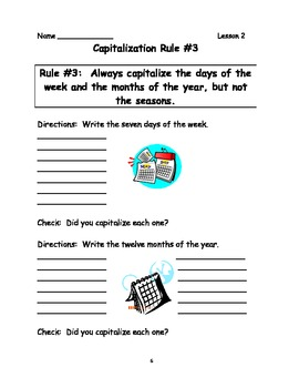 Captialization Rules for Six Lessons (Lesson Plans, Activities, Worksheets)