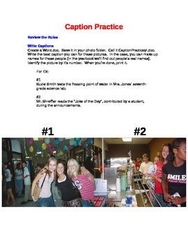 Caption Practice worksheet for Yearbook