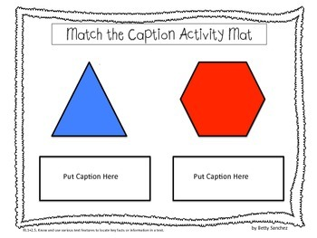 Captions:  Non-Fiction Text Feature Activities for Primary
