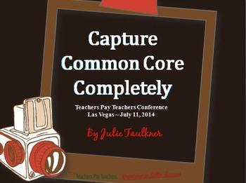 Capture Common Core Completely TpT Conference Handouts +BONUS: Gift Labels