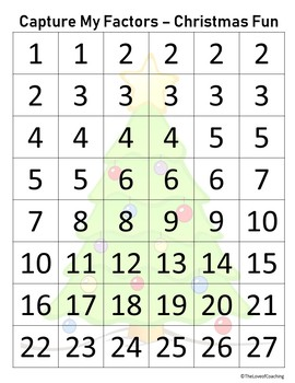 Capture My Factors Christmas Math Game