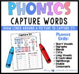 Capture Words Phonics Literacy Center from Phonics Bundle 8