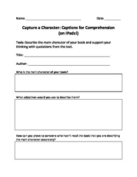 Capture a Character: Captions for Comprehension  (on iPads!)