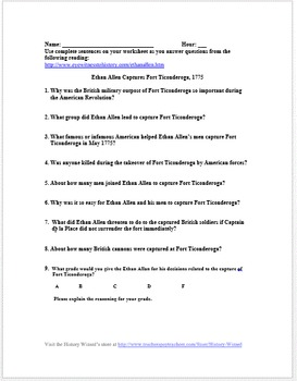 Capture of Fort Ticonderoga: American Revolution Primary Source Worksheet