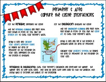 4th Grade Perimeter and Area Task Card Game by Marvel Math,  TEKS 4.5D