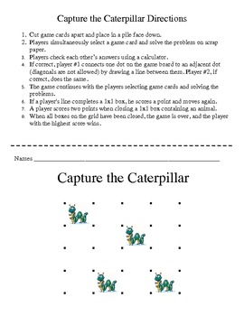 Capture the Caterpillar - Basic Facts of Subtraction Game