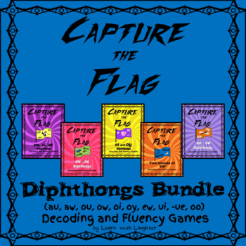 Capture The Flag DIPHTHONGS Decoding And Fluency Games BUNDLE