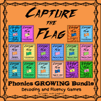 Capture the Flag - Phonics Skills Decoding and Fluency Games GROWING Bundle