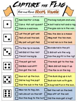 Capture the Flag - Short Vowel Sounds (CVC words) Decoding and Fluency Games