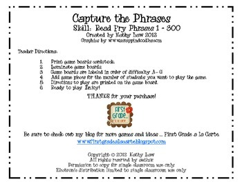 Capture the Phrases--Fry Phrases 1-300