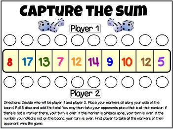 Capture the Sum Fact Fluency Game