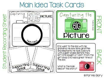 Capturing the BIG Picture {Main Idea Cards & Activity Pages}