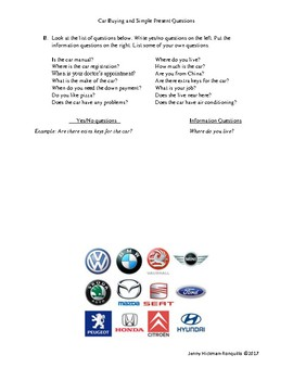 Car Buying Vocabulary and Simple Present Questions