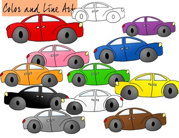 Car Clip Art - Color and Line Art 12 pc set