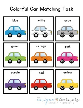 Car Color Matching Folder Game for Early Childhood Special Education