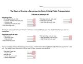 Car Cost worksheet